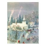 Navidad del vintage, asistentes de la iglesia en d postales