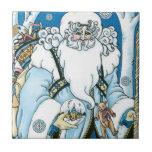 Navidad del vintage, azul Snowglobe de Papá Noel Azulejo Cuadrado Pequeño