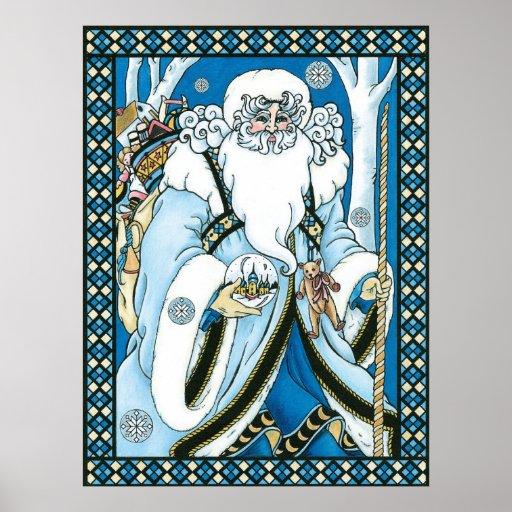 Navidad del vintage, azul Snowglobe de Papá Noel Posters