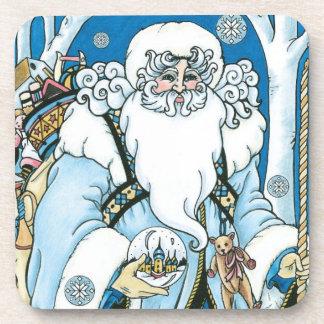 Navidad del vintage, azul Snowglobe de Papá Noel Posavasos De Bebida