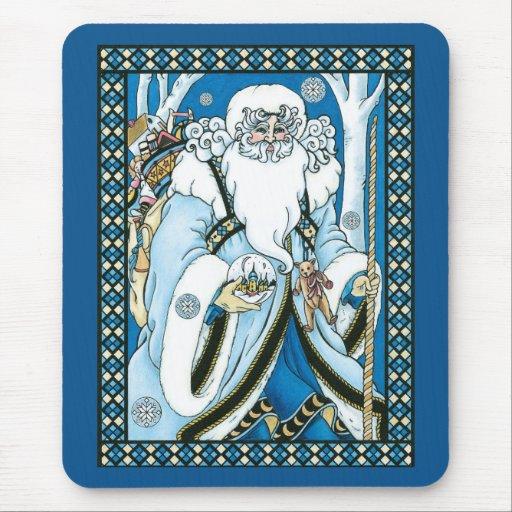 Navidad del vintage, azul Snowglobe de Papá Noel Tapete De Ratones