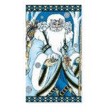 Navidad del vintage, azul Snowglobe de Papá Noel Tarjetas De Visita
