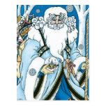 Navidad del vintage, azul Snowglobe de Papá Noel Postal