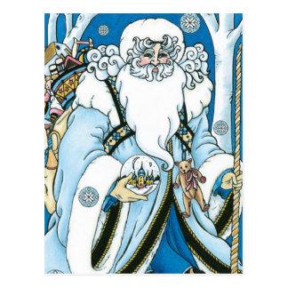 Navidad del vintage azul Snowglobe de Papá Noel Tarjeta Postal