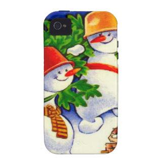 Navidad del vintage banda del muñeco de nieve iPhone 4/4S carcasas