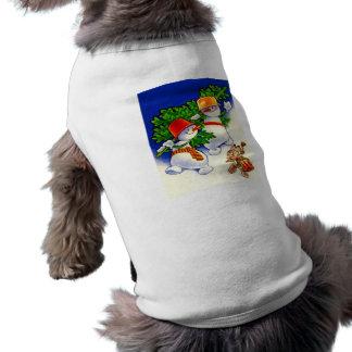 Navidad del vintage, banda del muñeco de nieve camiseta de mascota