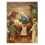 Navidad del vintage, bebé religioso Jesús de la Notebook