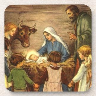 Navidad del vintage, bebé religioso Jesús de la Posavaso