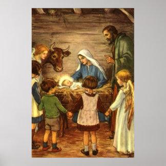 Navidad del vintage, bebé religioso Jesús de la Póster