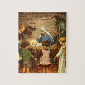 Navidad del vintage, bebé religioso Jesús de la Puzzle