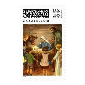 Navidad del vintage, bebé religioso Jesús de la Franqueo