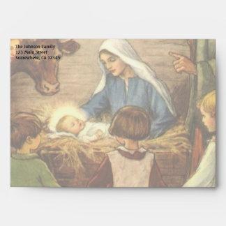 Navidad del vintage, bebé religioso Jesús de la Sobres