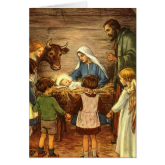 Navidad del vintage, bebé religioso Jesús de la Tarjeta De Felicitación