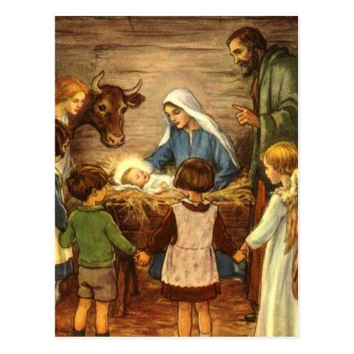 Navidad del vintage, bebé religioso Jesús de la Tarjeta Postal