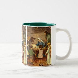 Navidad del vintage, bebé religioso Jesús de la Taza Dos Tonos