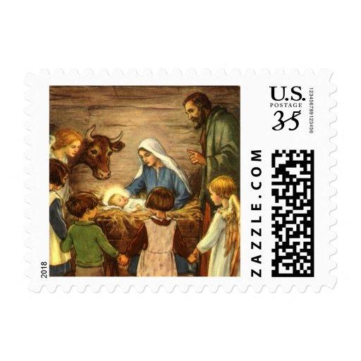 Navidad del vintage, bebé religioso Jesús de la Timbre Postal