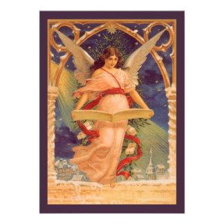 Navidad del vintage biblia de la lectura del ánge invitaciones personalizada