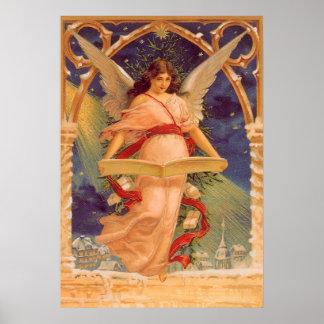 Navidad del vintage, biblia de la lectura del ánge posters