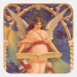 Navidad del vintage, biblia de la lectura del ánge pegatinas