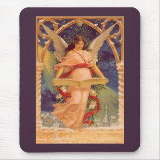 Navidad del vintage, biblia de la lectura del ánge tapetes de ratón
