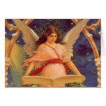 Navidad del vintage, biblia de la lectura del ánge felicitación