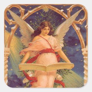 Navidad del vintage, biblia de la lectura del pegatinas cuadradas
