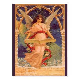 Navidad del vintage, biblia de la lectura del tarjetas postales