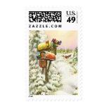 Navidad del vintage, buzones en paisaje del envio