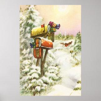 Navidad del vintage, buzones en paisaje del poster