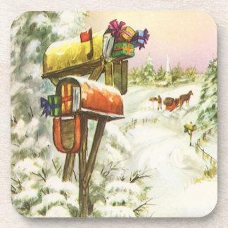Navidad del vintage, buzones en paisaje del posavasos