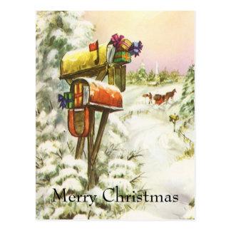 Navidad del vintage, buzones en paisaje del postales