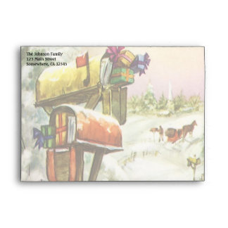 Navidad del vintage, buzones en paisaje del