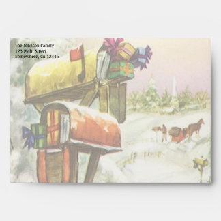 Navidad del vintage, buzones en paisaje del sobres
