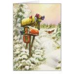 Navidad del vintage, buzones en paisaje del tarjetas