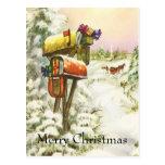 Navidad del vintage, buzones en paisaje del tarjetas postales