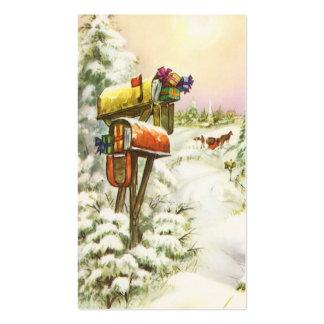 Navidad del vintage, buzones en paisaje del tarjetas de visita