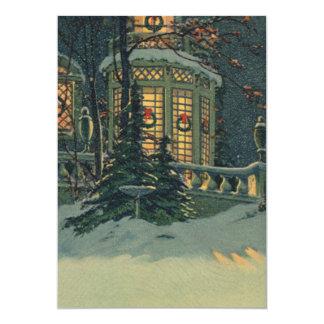 Navidad del vintage, casa con las guirnaldas en anuncio