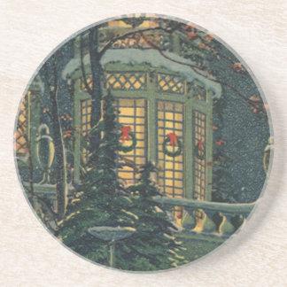 Navidad del vintage, casa con las guirnaldas en posavasos personalizados