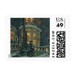 Navidad del vintage, casa con las guirnaldas en sellos