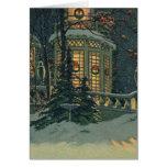 Navidad del vintage, casa con las guirnaldas en tarjeta
