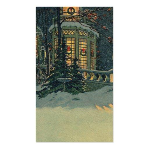 Navidad del vintage, casa con las guirnaldas en tarjetas personales