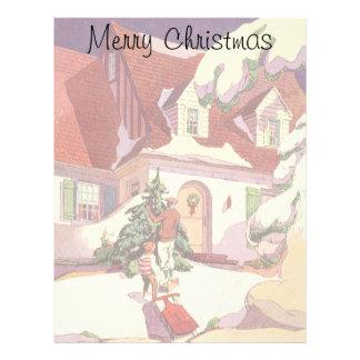 Navidad del vintage, casa de la familia en la membrete personalizado