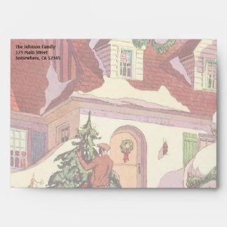 Navidad del vintage, casa de la familia en la sobre