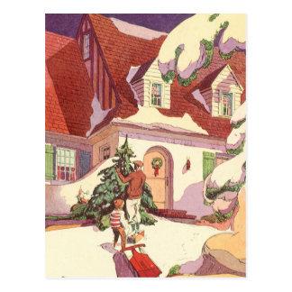 Navidad del vintage, casa de la familia en la tarjeta postal