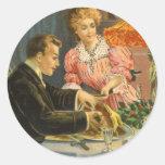 Navidad del vintage, cena de la familia pegatina redonda