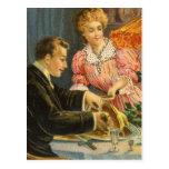 Navidad del vintage, cena de la familia tarjeta postal