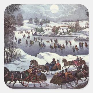 Navidad del vintage Central Park en invierno