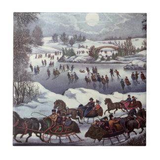Navidad del vintage, Central Park en invierno Azulejo Cerámica