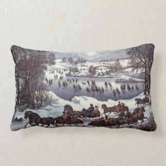 Navidad del vintage Central Park en invierno Almohadas