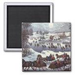 Navidad del vintage, Central Park en invierno Imán Para Frigorifico